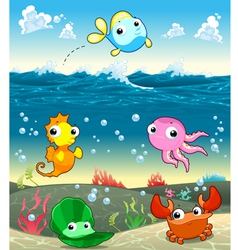 Funny marine family in the sea vector image