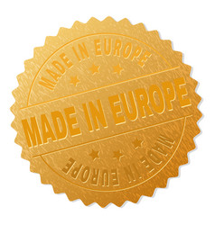 golden made in europe award stamp vector image