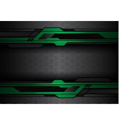 green black futuristic polygon line hexagon mesh vector image