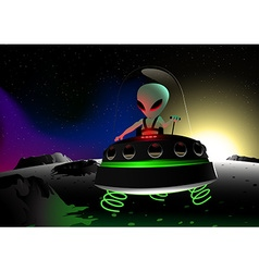 Grey alien flying on moon surface in a UFO vector