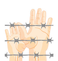 Hands people for barbed wire vector