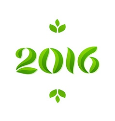 Happy new year 2016 eco leaves greeting card vector