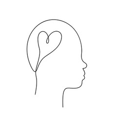 Heart in human head asian non-binary face vector