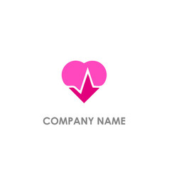 heart love pulse logo vector image