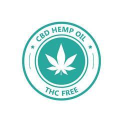 Hemp derived cbd oil stamp thc free icon vector