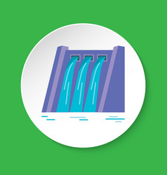 Hydroelectric station icon in flat style on round vector