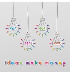 idea currency bulbs vector image