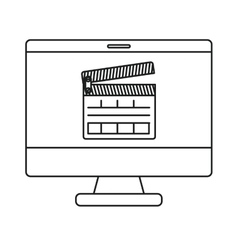 Isolated clapboard and computer design vector image