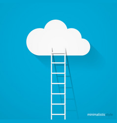 ladder leading to cloud minimalistic style vector image