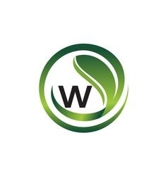 leaf initial w logo design template vector image