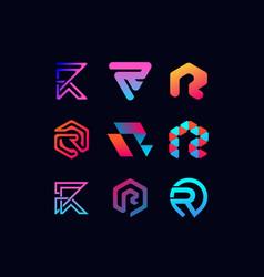 Letter logo r full color gradient vector