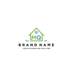 Letter mq home logo design vector
