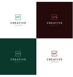 Letter wf medical plus creative business logo vector