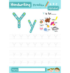 Letter y uppercase and lowercase tracing practice vector