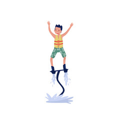 man on flyboard extreme water sport cartoon vector image