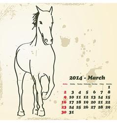 March 2014 hand drawn horse calendar vector image vector image