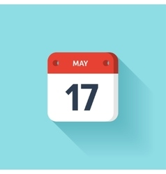May 17 Isometric Calendar Icon With Shadow vector