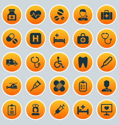Medicine icons set collection of polyclinic drug vector