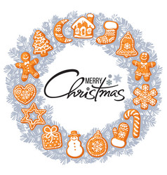 merry christmas lettering in center of silver grey vector image