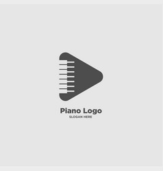 Music and piano logo design template vector