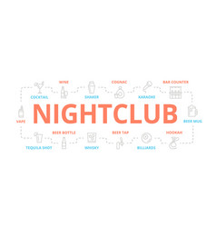 night club thin line banner for design vector image vector image
