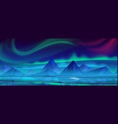 Night landscape with aurora borealis in sky vector