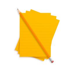 orange realistic pencil lies with rubber vector image