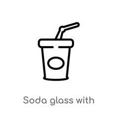 Outline soda glass with a straw icon isolated vector