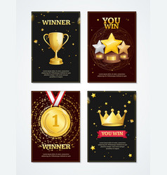 realistic 3d detailed award banner placard set vector image