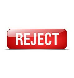 Reject red square 3d realistic isolated web button vector