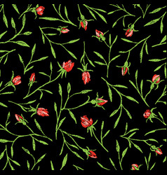 Seamless pattern roses twigs vector