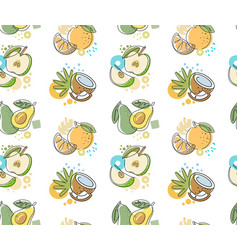 seamless pattern with fruit apple avocado orange vector image