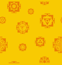 Seamless pattern with yantra vector