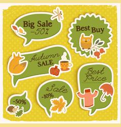 Seasonal sale green stickers set vector