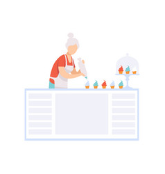 senior woman character baking cupcakes in the vector image