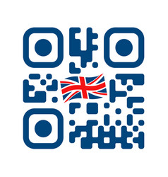 smartphone readable qr code with uk flag icon vector image