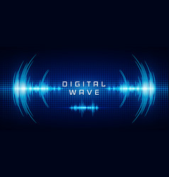 Sound waves oscillating glow light digital wave vector