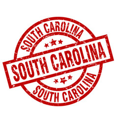 South carolina red round grunge stamp vector