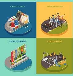 Sport shop isometric design concept vector