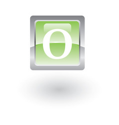 square glossy icon letter o vector image