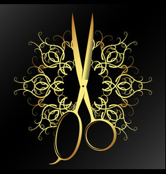 Stylist hair scissors with ornament vector