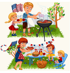 summer family grill and barbeque in nature vector image