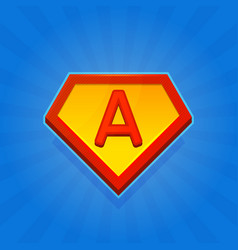 superhero logo icon with letter a on blue vector image