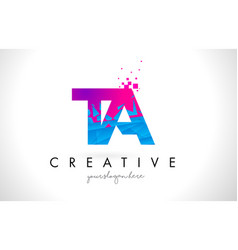 Ta t a letter logo with shattered broken blue vector
