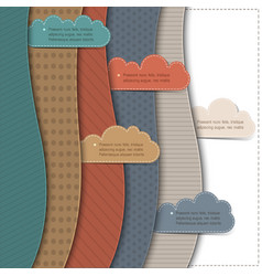 Textured paper banners with clouds vector
