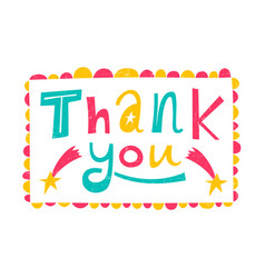Thank you childrens funny inscription vector