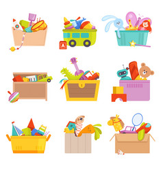 toys box gifts for kids in package many toys car vector image