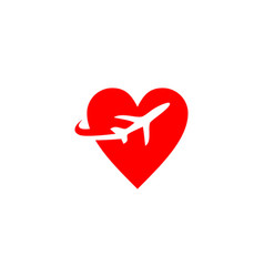 Travel plane love logo vector