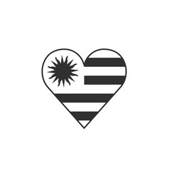 uruguay flag icon in a heart shape in black vector image