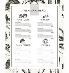 Vitaminic menu - color hand drawn composite menu vector